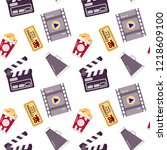 cinema seamless pattern. could... | Shutterstock .eps vector #1218609100