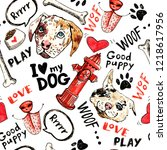 Stock photo hand drawn doodle seamless pattern sketches of dogs fire hydrants inscriptions with markers and 1218617956