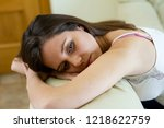 very sad young girl with a lost ... | Shutterstock . vector #1218622759