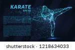 karate of blue glowing dots.... | Shutterstock .eps vector #1218634033