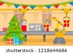 robotic packing conveyor belt... | Shutterstock .eps vector #1218644686