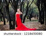 woman in red dress in fall... | Shutterstock . vector #1218650080