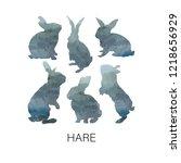Stock photo hare silhouette watercolor illustration 1218656929
