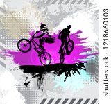 silhouette of a bicycle rider ...   Shutterstock .eps vector #1218660103