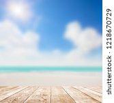 blue seascape under clouds sky. ... | Shutterstock . vector #1218670729