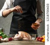 chef sprinkles frozen paprika ...   Shutterstock . vector #1218700603