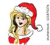beautiful blonde girl dressed... | Shutterstock .eps vector #121870276