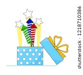 gift box with rocket for... | Shutterstock .eps vector #1218710386