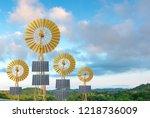 wind energy with solar pixel to ... | Shutterstock . vector #1218736009