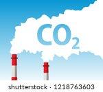 chimney smoke  carbon dioxide  | Shutterstock .eps vector #1218763603
