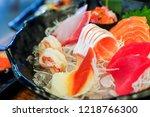 mixed sashimi  big sashimi... | Shutterstock . vector #1218766300