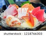 mixed sashimi  big sashimi... | Shutterstock . vector #1218766303