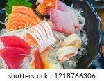 mixed sashimi  big sashimi... | Shutterstock . vector #1218766306