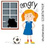 angry girl with broken window...   Shutterstock .eps vector #1218767419