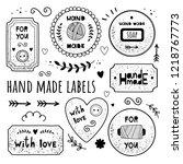 vector set of emblems hand made.... | Shutterstock .eps vector #1218767773