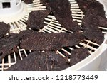 closeup of jerky slices on a... | Shutterstock . vector #1218773449