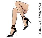 vector girls in high heels.... | Shutterstock .eps vector #1218774793