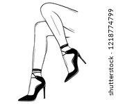 vector girls in high heels.... | Shutterstock .eps vector #1218774799
