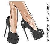 vector girls in high heels.... | Shutterstock .eps vector #1218774856