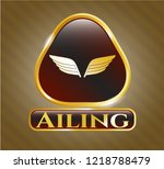 golden badge with wings icon...   Shutterstock .eps vector #1218788479