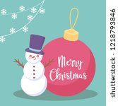 snowman with ball of christmas | Shutterstock .eps vector #1218793846