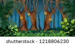 fairy dark forest landscape... | Shutterstock .eps vector #1218806230