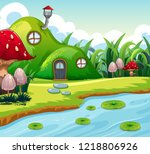 magic fairy house in nature... | Shutterstock .eps vector #1218806926