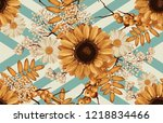 printable seamless vintage... | Shutterstock . vector #1218834466