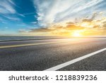 asphalt road and dramatic sky... | Shutterstock . vector #1218839236
