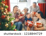merry christmas and happy... | Shutterstock . vector #1218844729