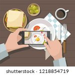mobile photography concept. man ... | Shutterstock .eps vector #1218854719