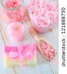 pink sea salt and soap | Shutterstock . vector #121888750