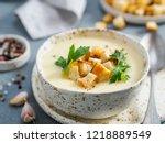 cauliflower potato soup puree...   Shutterstock . vector #1218889549