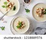 cauliflower potato soup puree... | Shutterstock . vector #1218889576