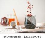 healthy breakfast concept and...   Shutterstock . vector #1218889759