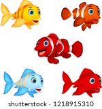 cartoon fish collection set | Shutterstock .eps vector #1218915310