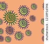 sun seamless  pattern . hand... | Shutterstock .eps vector #1218916546
