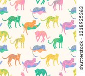seamless pattern with jaguars. ... | Shutterstock . vector #1218925363