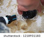 leaked poly pipes are being...   Shutterstock . vector #1218931183