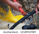 leaked poly pipes are being...   Shutterstock . vector #1218932989