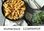 homemade baked vegan mac n... | Shutterstock . vector #1218944929