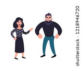 man and woman conflict. family... | Shutterstock . vector #1218946720