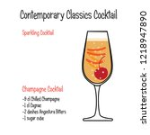french 75 alcoholic cocktail... | Shutterstock .eps vector #1218947890