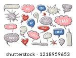 set of blank speech bubbles in... | Shutterstock .eps vector #1218959653