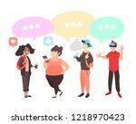 set of teenagers with gadgets. ... | Shutterstock . vector #1218970423