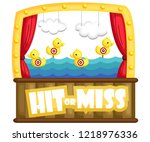 a shooting game booth with... | Shutterstock .eps vector #1218976336