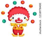 a cute clown juggling a ball...   Shutterstock .eps vector #1218978400