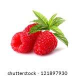 Raspberry with mint - stock photo