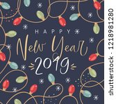 happy new year 2019. card... | Shutterstock .eps vector #1218981280