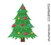 decorated christmas tree with... | Shutterstock .eps vector #1218986953